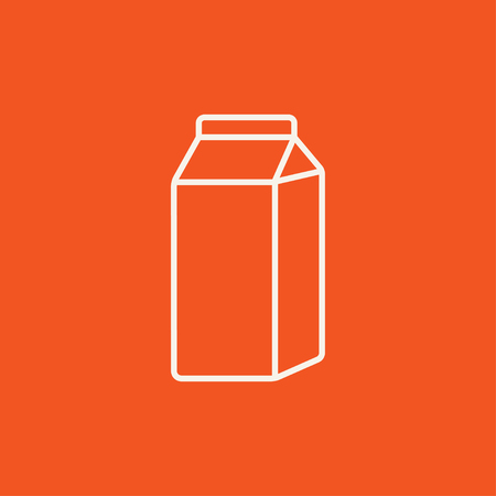 packaged: Packaged dairy product line icon for web, mobile and infographics. Vector white icon isolated on red background.