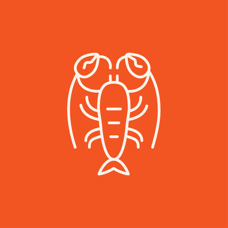 Lobster line icon for web, mobile and infographics. Vector white icon isolated on red background. Ilustração