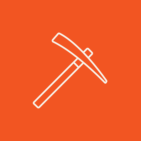 mattock: Pickax line icon for web, mobile and infographics. Vector white icon isolated on red background. Illustration