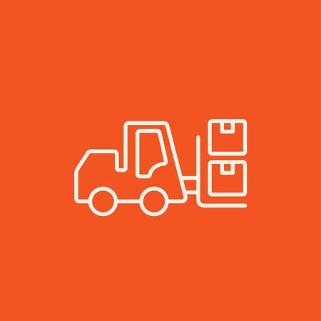 shipping boxes: Forklift shipping boxes line icon for web, mobile and infographics. Vector white icon isolated on red background.