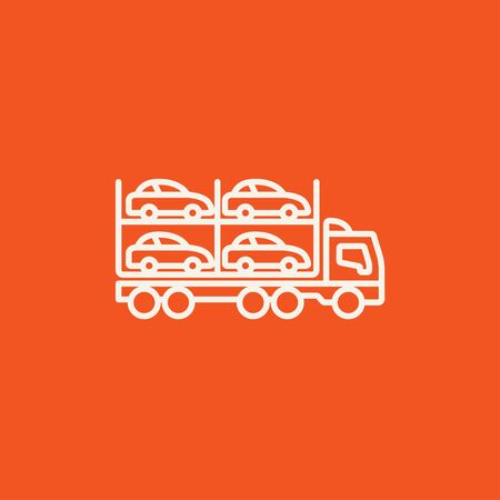 car carrier: Car carrier line icon for web, mobile and infographics. Vector white icon isolated on red background.
