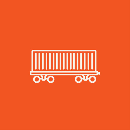 goods train: Cargo wagon line icon for web, mobile and infographics. Vector white icon isolated on red background. Illustration