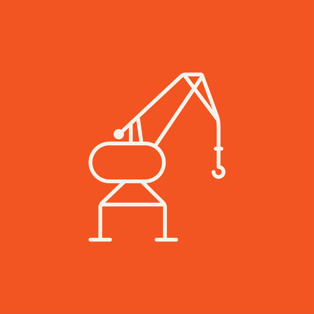 Harbor crane line icon for web, mobile and infographics. Vector white icon isolated on red background. Ilustração