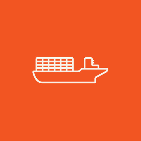 loading dock: Cargo container ship line icon for web, mobile and infographics. Vector white icon isolated on red background. Illustration