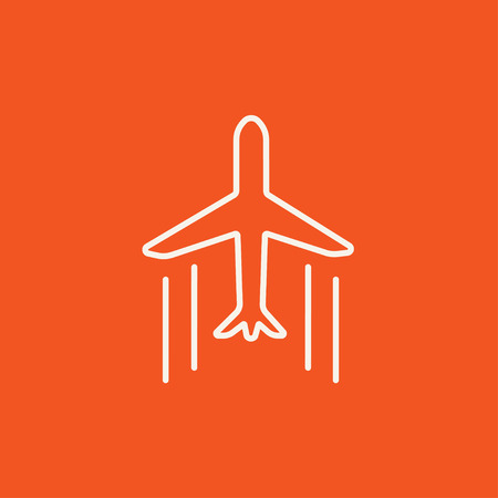 Cargo plane line icon for web, mobile and infographics. Vector white icon isolated on red background.