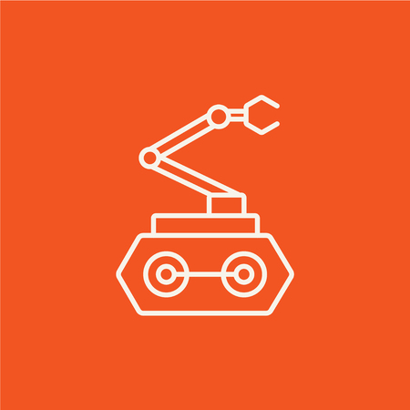conveyor system: Industrial mechanical robot arm line icon for web, mobile and infographics. Vector white icon isolated on red background.