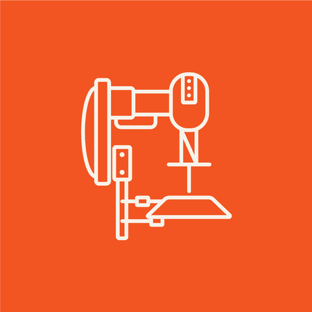 automated: Industrial automated robot line icon for web, mobile and infographics. Vector white icon isolated on red background.