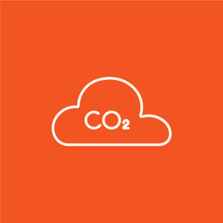 CO2 sign in cloud line icon for web, mobile and infographics. Vector white icon isolated on red background. Illustration