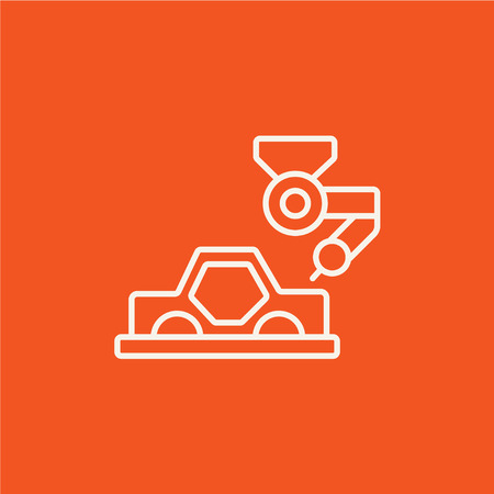 assembly line: Automated assembly line for cars line icon for web, mobile and infographics. Vector white icon isolated on red background.