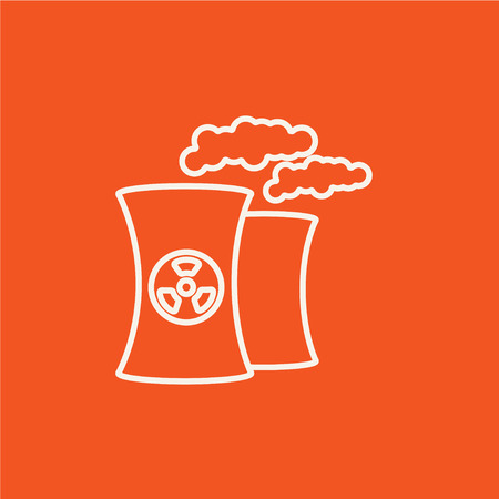 ecological damage: Nuclear power plant line icon for web, mobile and infographics. Vector white icon isolated on red background. Illustration