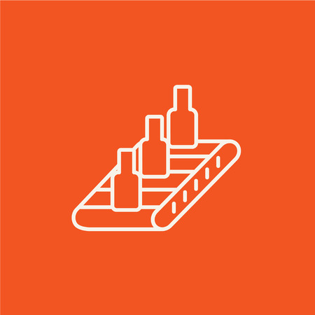 conveyor system: Bottles on conveyor belt system line icon for web, mobile and infographics. Vector white icon isolated on red background.