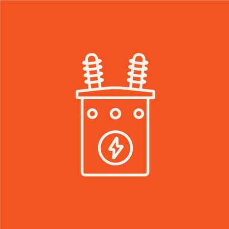 watts: High voltage transformer line icon for web, mobile and infographics. Vector white icon isolated on red background. Illustration