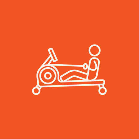 Man exercising with gym apparatus line icon for web, mobile and infographics. Vector white icon isolated on red background.