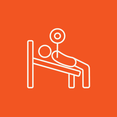 Man lying on bench and lifting barbell line icon for web, mobile and infographics. Vector white icon isolated on red background. Illustration