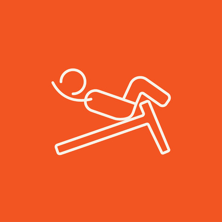 crunches: Man doing crunches on incline bench line icon for web, mobile and infographics. Vector white icon isolated on red background.