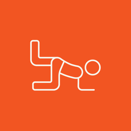 buttocks: Man exercising buttocks line icon for web, mobile and infographics. Vector white icon isolated on red background.