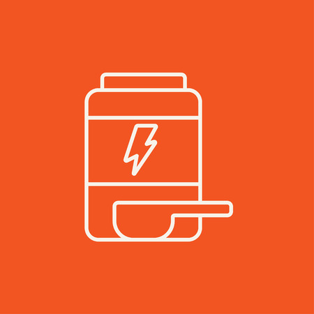 supplementation: Sport nutrition container line icon for web, mobile and infographics. Vector white icon isolated on red background. Illustration