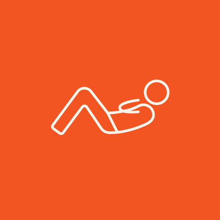 crunches: Man doing abdominal crunches line icon for web, mobile and infographics. Vector white icon isolated on red background.