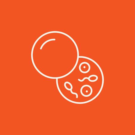 Donorsperma lijn pictogram voor web, mobiel en infographics. Vector wit pictogram op een rode achtergrond.