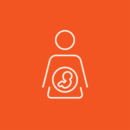 Baby fetus in mother womb line icon for web, mobile and infographics. Vector white icon isolated on red background. Vectores