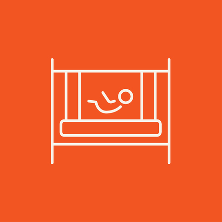 Baby laying in the crib line icon for web, mobile and infographics. Vector white icon isolated on red background.
