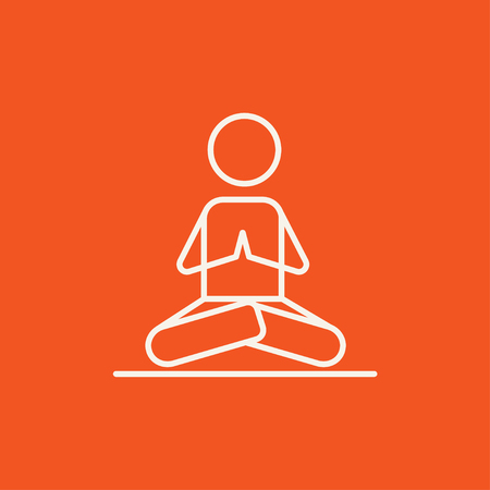 A man meditating in lotus pose line icon for web, mobile and infographics. Vector white icon isolated on red background.