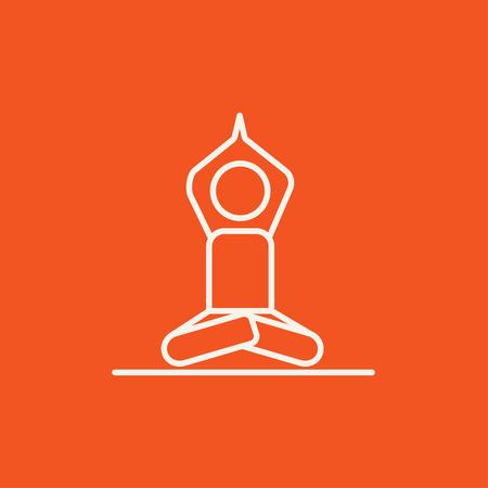 elasticity: Un hombre meditando en posición de loto icono de línea para web, móvil y la infografía. Vector icono de color blanco sobre fondo rojo.