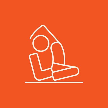pada: Man sitting in asana eka pada radzhakapotasana line icon for web, mobile and infographics. Vector white icon isolated on red background.
