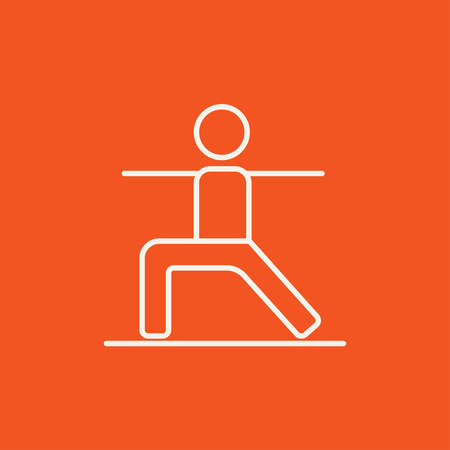 Man in the virabhadrasana II pose line icon for web, mobile and infographics. Vector white icon isolated on red background. Illustration