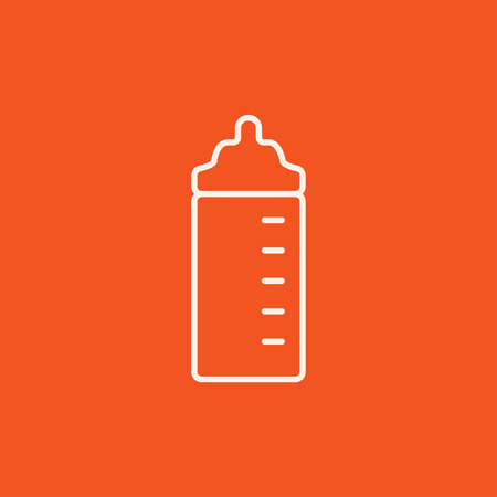 nursing bottle: Feeding bottle line icon for web, mobile and infographics. Vector white icon isolated on red background. Illustration
