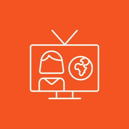 report icon: TV report line icon for web, mobile and infographics. Vector white icon isolated on red background.
