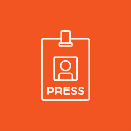 neckband: Press pass ID card line icon for web, mobile and infographics. Vector white icon isolated on red background.