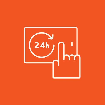 touchscreen: Finger touching 24 hours service button on a touchscreen line icon for web, mobile and infographics. Vector white icon isolated on red background. Illustration