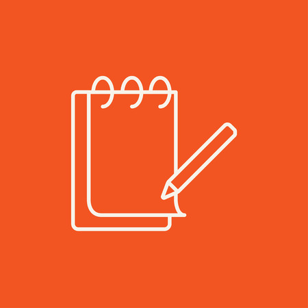 Notepad with pencil line icon for web, mobile and infographics. Vector white icon isolated on red background. Illustration