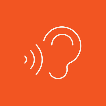 earing: Ear and sound waves line icon for web, mobile and infographics. Vector white icon isolated on red background. Illustration