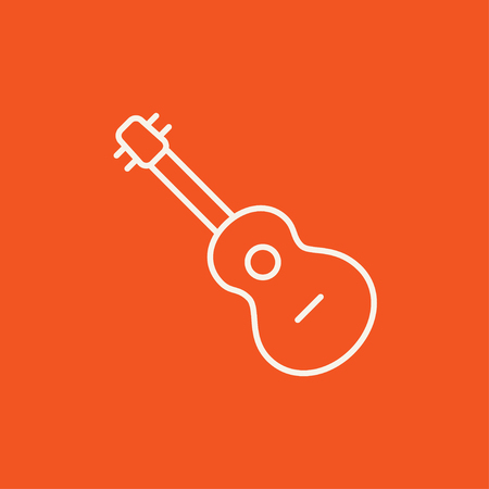 strum: Guitar line icon for web, mobile and infographics. Vector white icon isolated on red background.