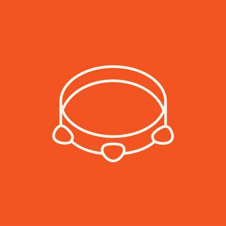 hand beats: Tambourine line icon for web, mobile and infographics. Vector white icon isolated on red background.