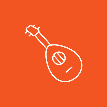 mandolin: Mandolin line icon for web, mobile and infographics. Vector white icon isolated on red background. Illustration