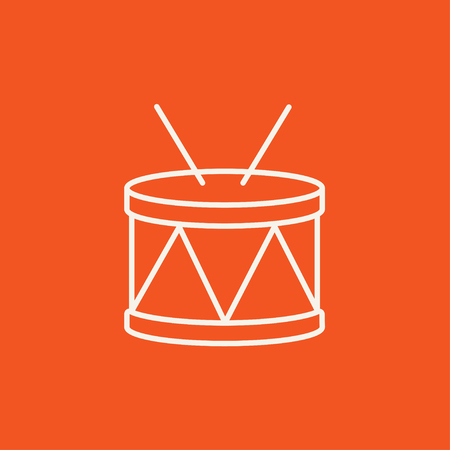 red drum: Drum with sticks line icon for web, mobile and infographics. Vector white icon isolated on red background.