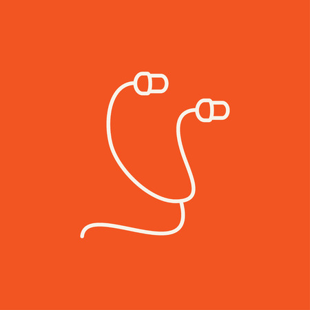 earphone: Earphone line icon for web, mobile and infographics. Vector white icon isolated on red background.