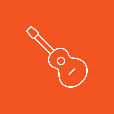 fret: Acoustic guitar line icon for web, mobile and infographics. Vector white icon isolated on red background.