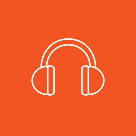 Headphone line icon for web, mobile and infographics. Vector white icon isolated on red background.