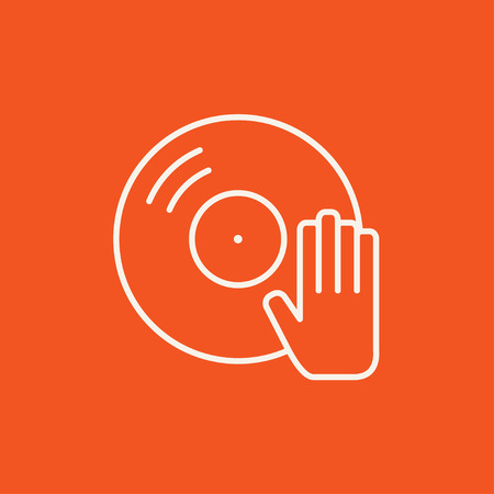 remix: Disc with dj hand line icon for web, mobile and infographics. Vector white icon isolated on red background.