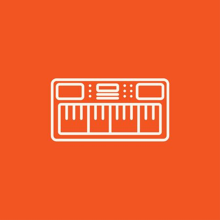 synthesizer: Synthesizer line icon for web, mobile and infographics. Vector white icon isolated on red background.