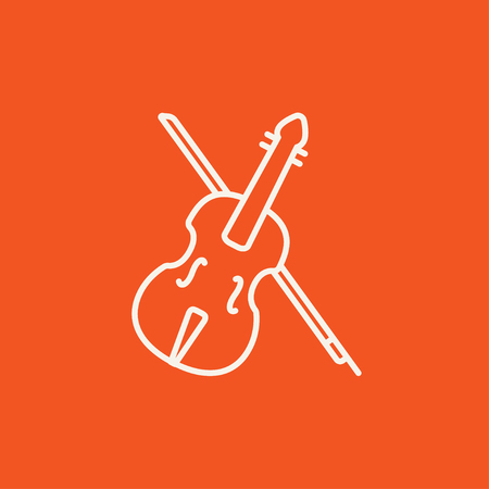 fiddlestick: Violin with bow line icon for web, mobile and infographics. Vector white icon isolated on red background.