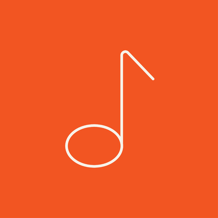 melodies: Music note line icon for web, mobile and infographics. Vector white icon isolated on red background.