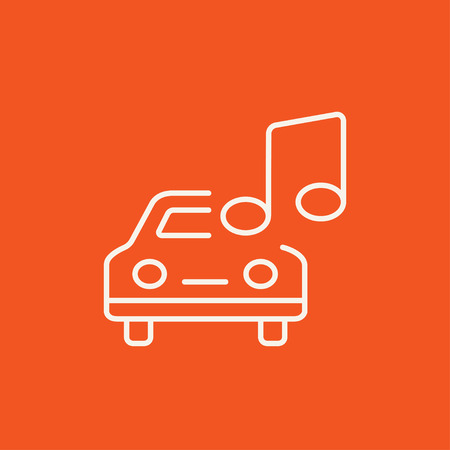 Car with music note line icon for web, mobile and infographics. Vector white icon isolated on red background.