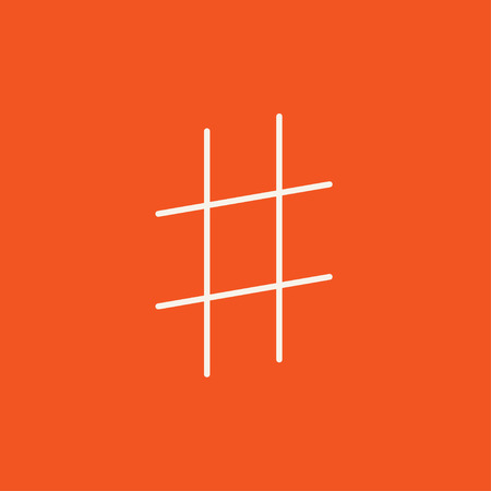 Hashtag symbol line icon for web, mobile and infographics. Vector white icon isolated on red background. Illustration