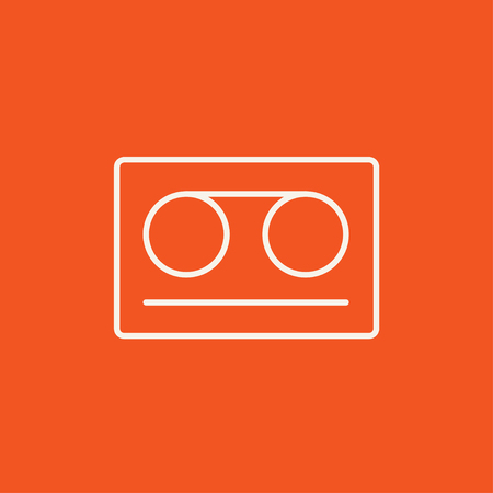 Cassette tape line icon for web, mobile and infographics. Vector white icon isolated on red background.