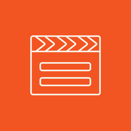 media equipment: Clapboard line icon for web, mobile and infographics. Vector white icon isolated on red background. Illustration
